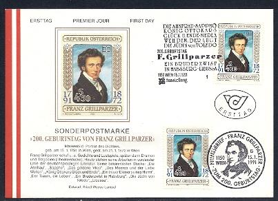 Franz Grillparzer numisbrief franz grillparzer
